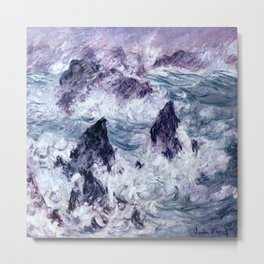Monet : Storm At Belle Ile Metal Print