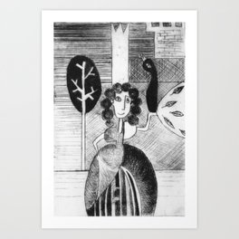Princess and peacock Art Print