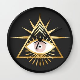gold foil triangle evil eye Wall Clock