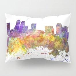 Newark skyline in watercolor background Pillow Sham
