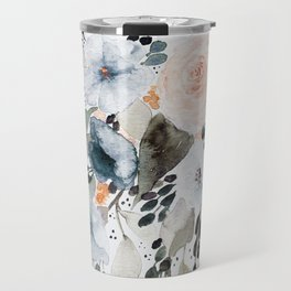 Loose Blue and Peach Floral Watercolor Bouquet  Travel Mug