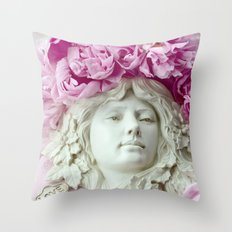 Peonies Romantic Angel Sculpture Throw Pillow