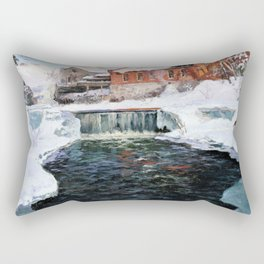 Frits Thaulow - The new factory in Lillehammer - Digital Remastered Edition Rectangular Pillow