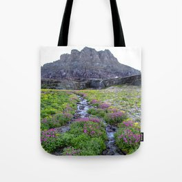 Mountain Wildflowers Lined Stream Tote Bag