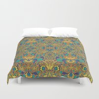 arabic Duvet Covers featuring Arabic Marigold by GEETIKAGULIA