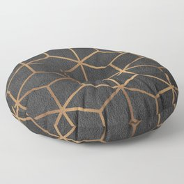 Charcoal and Gold - Geometric Textured Cube Design I Floor Pillow