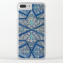 Antique Persian Tile Pattern, Cobalt Blue and White Clear iPhone Case
