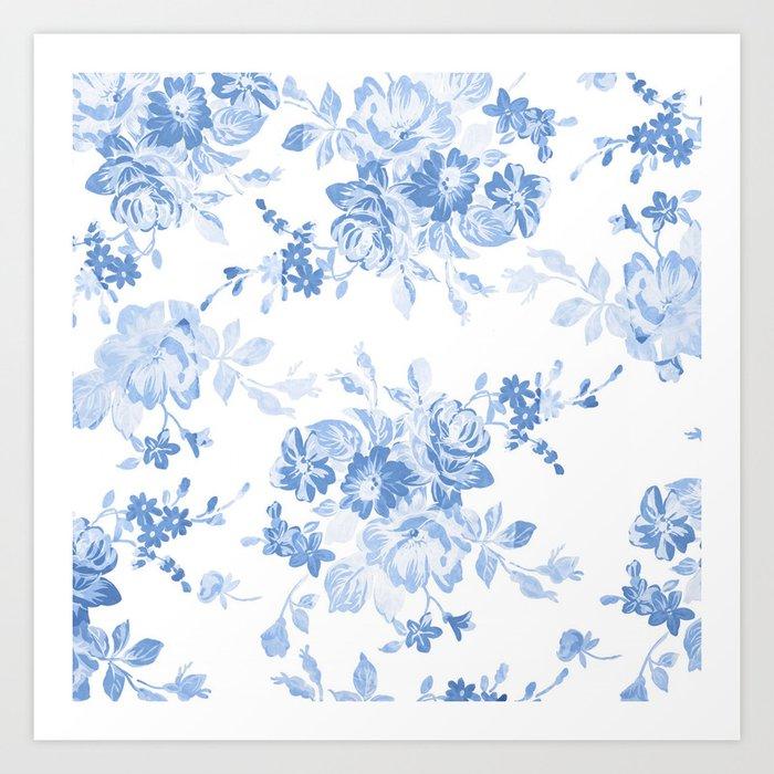 Modern navy blue white watercolor elegant floral Kunstdrucke