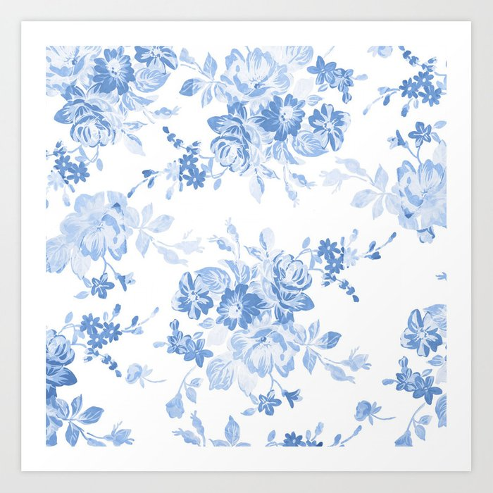 fc6b346d3cf Modern navy blue white watercolor elegant floral Art Print by pink water