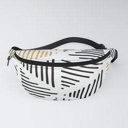 Simple Geometric Zig Zag Pattern - Black Gold White - Mix & Match with Simplicity of life Fanny Pack