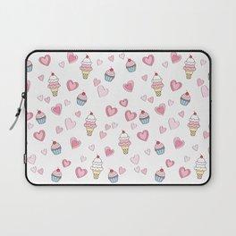 BellaRina - Cupcakes, Ice Cream & Hearts Pattern Laptop Sleeve