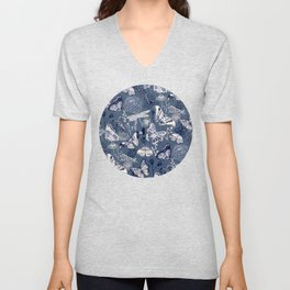 Dragonflies, Butterflies and Moths With Plants on Navy Unisex V-Neck