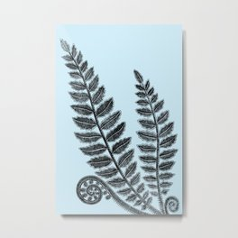 Black lace fern on powder blue background Metal Print