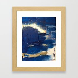 Halo [2]: a minimal, abstract mixed-media piece in blue and gold by Alyssa Hamilton Art Framed Art Print