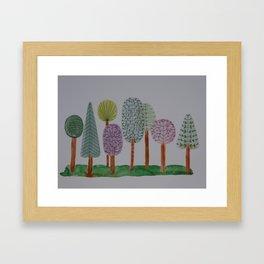 Forest Line Drawing Framed Art Print
