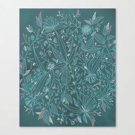 Floral Weave Teal Canvas Print