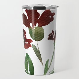 Burgundy Watercolor Carnations Travel Mug