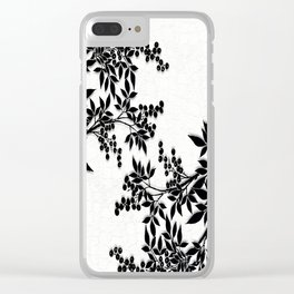 Black and White Leaf Toile Clear iPhone Case