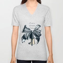 Fashion illustration with high heel shoe and bow. I am limited edition Unisex V-Neck