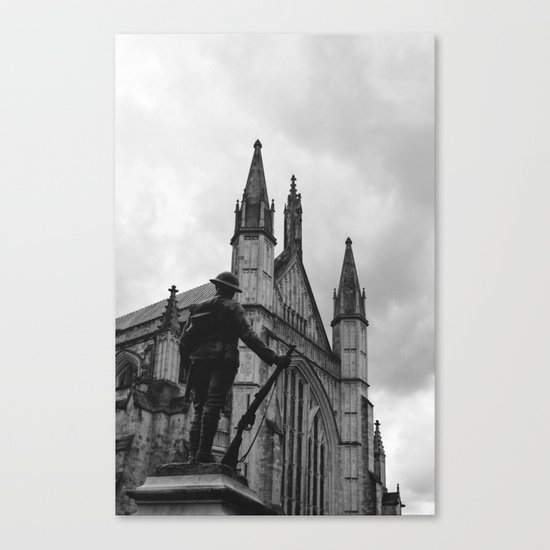 Soldier and cathedral Canvas Print