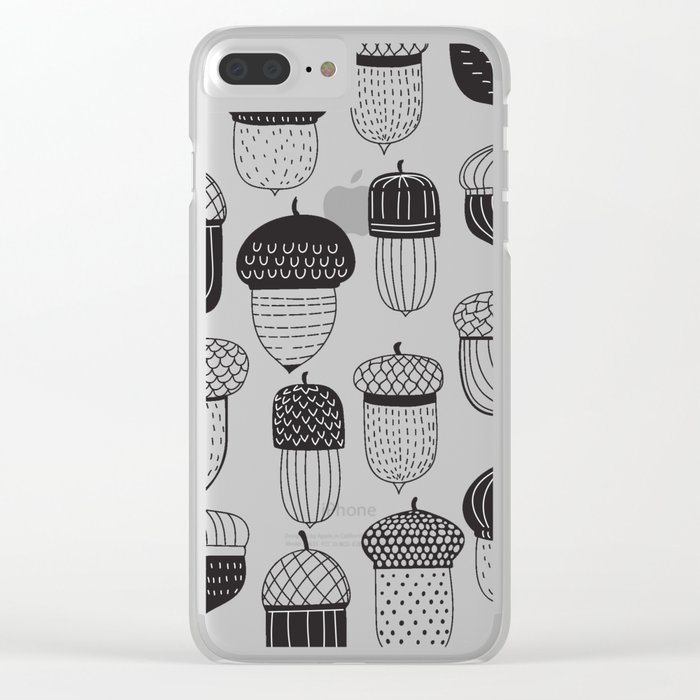 Doodle acorns autumn pattern Clear iPhone Case