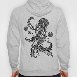 Jellyfish Black & White Doodle Art Hoody