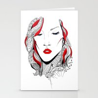 rihanna Stationery Cards featuring Rihanna  by Ina Spasova puzzle