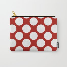 White & Red Navy Polkadot Pattern Carry-All Pouch