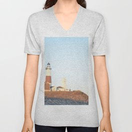 Sunset at Lighthouse in East Hampton Unisex V-Neck