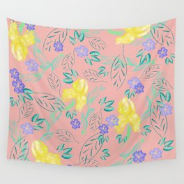 Watercolour yellow iris and periwinkle pattern on blush Wall Tapestry