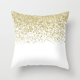 Sparkling gold glitter confetti on simple white background - Pattern Throw Pillow