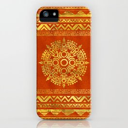 Gold Aztec Calendar Sun symbol iPhone Case