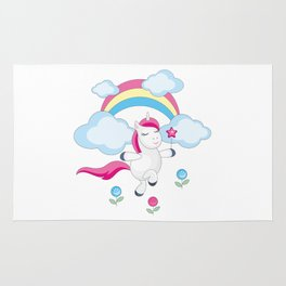 little unicorn and rainbow Rug