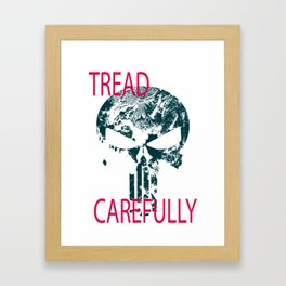 Tread Carefully Skull Framed Art Print