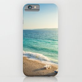 Beach in croatian coast, blue sea. Aerial view iPhone Case