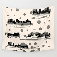 central park Wall Tapestries featuring central park snow by Gray