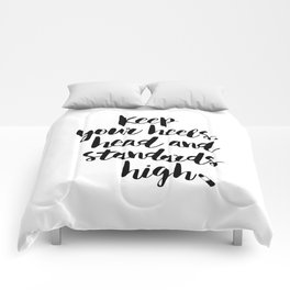 Keep Your Heels Head Standards High black and white bedroom typography poster home wall decor Comforters