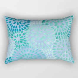 Aqua Chrysanthemums Rectangular Pillow