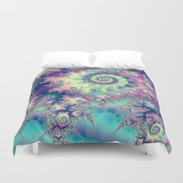 Violet Teal Sea Shells, Abstract Underwater Forest  Duvet Cover