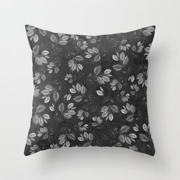 Black and White Leaves Pattern #1 Throw Pillow