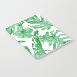 Tropical Island Leaves Green on White Notebook