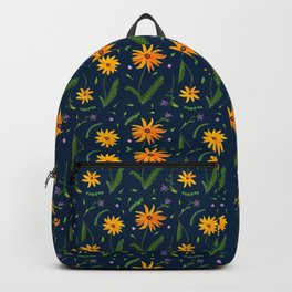 Yellow Daisy Gouache Pattern with an indigo background  Backpack