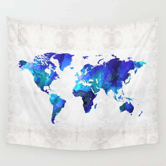 World map 17 blue art by sharon cummings wall tapestry by world map 17 blue art by sharon cummings wall tapestry gumiabroncs Gallery