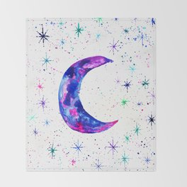 Dreamy Crescent Moon Phase Throw Blanket