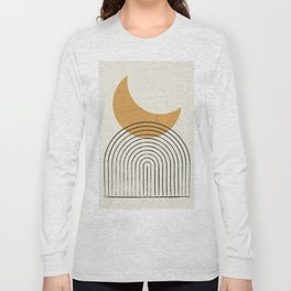 Moon mountain gold - Mid century style Long Sleeve T-shirt