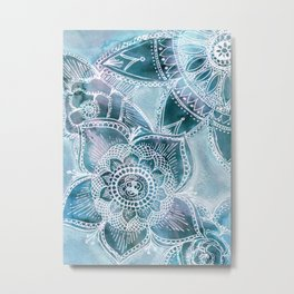Shimmering Snowflower Mandala Metal Print