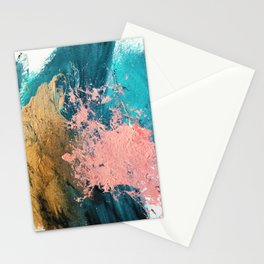Coral Reef [1]: colorful abstract in blue, teal, gold, and pink Stationery Cards