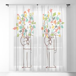 I bring flowers Sheer Curtain