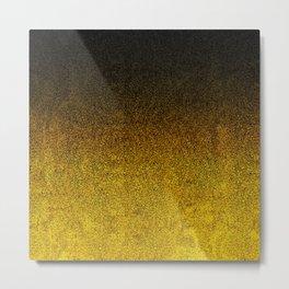 Yellow & Black Glitter Gradient Metal Print