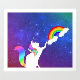 Unicorn Cat Toy Art Print